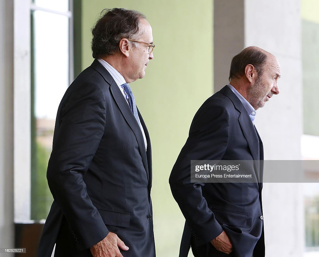 Javier Ayuso receives Alfredo Perez Rubalcaba in his visit to King Juan Carlos of Spain at Quiron Hospital where Spain's King Juan Carlos underwent...
