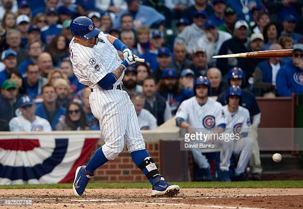 Javier Baez of the Chicago Cubs breaks his bat as he grounds out in the fifth inning against the St Louis Cardinals during game four of the National...
