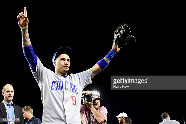 Javier Baez of the Chicago Cubs celebrates after the Chicago Cubs win 84 against the Los Angeles Dodgers in game five of the National League Division...
