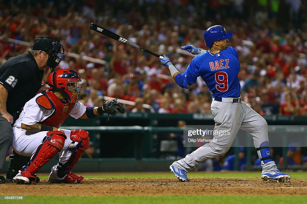 Javier Baez #9 of the Chicago Cubs hits a two-RBI double against the St. Louis Cardinals in the eighth inning at Busch Stadium on August 29, 2014 in St. Louis, Missouri. The Cubs beat the Cardinals 7-2.