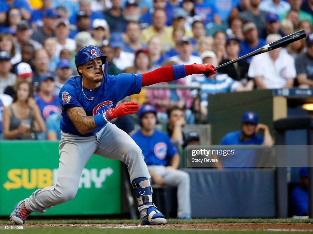 Javier Baez #9 of the Chicago Cubs strikes out during the second inning of a game against the Milwaukee Brewers at Miller Park on July 29, 2017 in Milwaukee, Wisconsin.