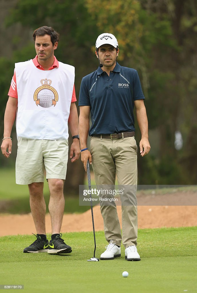 <a gi-track='captionPersonalityLinkClicked' href=/galleries/search?phrase=Javier+Ballesteros&family=editorial&specificpeople=7766653 ng-click='$event.stopPropagation()'>Javier Ballesteros</a> of Spain in action during a mixed exhibition match prior to the start of the Trophee Hassan II at Royal Golf Dar Es Salam on May 4, 2016 in Rabat, Morocco.