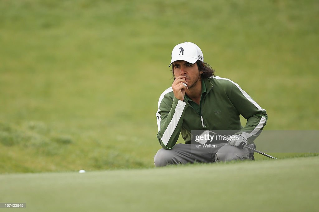 <a gi-track='captionPersonalityLinkClicked' href=/galleries/search?phrase=Javier+Ballesteros&family=editorial&specificpeople=7766653 ng-click='$event.stopPropagation()'>Javier Ballesteros</a> of Spain in action during the 2nd round of the Challenge de Madrid on the European Challenge Tour in El Encin Golf Course on April 25, 2013 in Madrid, Spain.