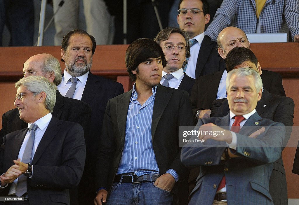 Javier Ballesteros (C) son of late golfing legend <a gi-track='captionPersonalityLinkClicked' href=/galleries/search?phrase=Seve+Ballesteros&family=editorial&specificpeople=215301 ng-click='$event.stopPropagation()'>Seve Ballesteros</a> attends the homage to his father before the La Liga match between Racing Santander and Atletico Madrid on May 10, 2011 in El Sardinero stadium in Santander near Ballesteros' home village of Pedrena, in Spain. The funeral for the legendary Spanish golfer, who died at the age of 54 following a lengthy battle with cancer, will be held tomorrow in his home village of Pedrena.