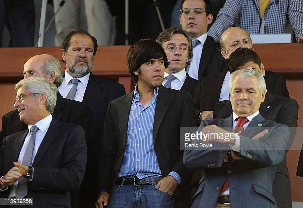 Javier Ballesteros son of late golfing legend Seve Ballesteros attends the homage to his father before the La Liga match between Racing Santander and...