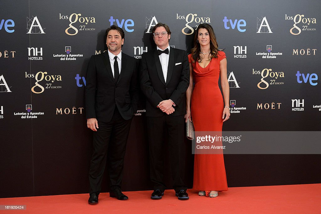 Javier Bardem, Alvaro Longoria and Lilly Hartley attend Goya Cinema Awards 2013 at Centro de Congresos Principe Felipe on February 17, 2013 in Madrid, Spain.