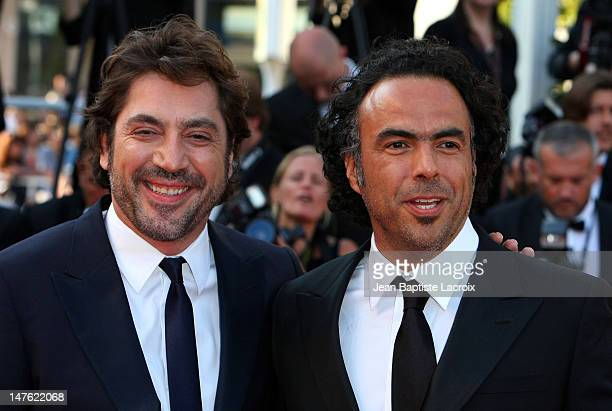 Javier Bardem and Alejandro Gonzalez Inarritu attend the Palme d'Or Closing Ceremony held at the Palais des Festivals during the 63rd Annual...