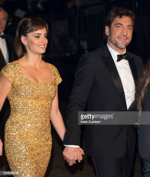 Javier Bardem and Penelope Cruz attend afterparty for the Royal World Premiere of 'Skyfall' at Tate Modern on October 23 2012 in London England