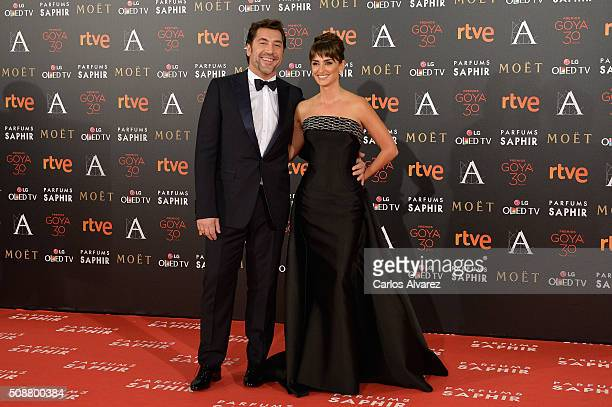 Javier Bardem and Penelope Cruz attend Goya Cinema Awards 2016 at Madrid Marriott Auditorium on February 6 2016 in Madrid Spain