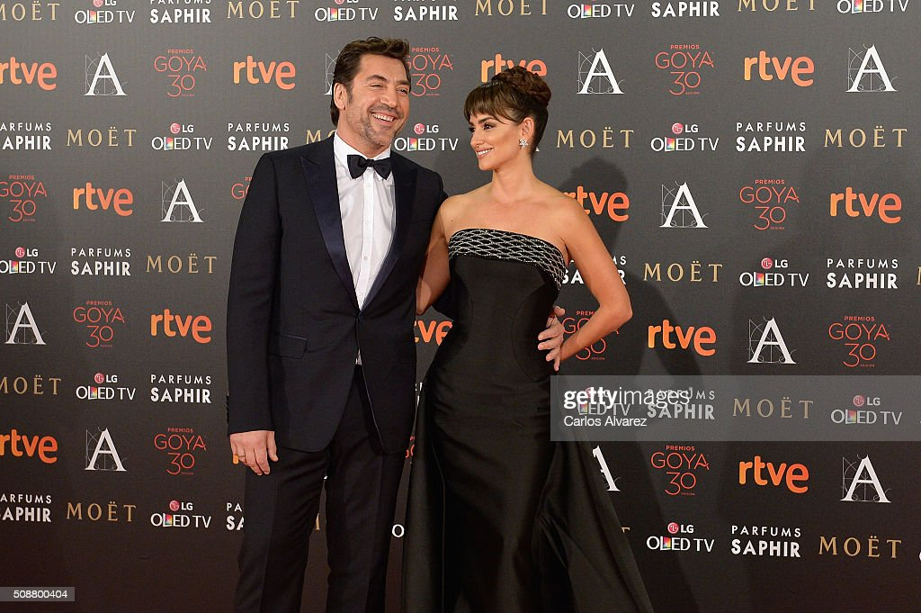 Javier Bardem and Penelope Cruz attend Goya Cinema Awards 2016 at Madrid Marriott Auditorium on February 6, 2016 in Madrid, Spain.