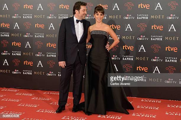 Javier Bardem and Penelope Cruz attend Goya Cinema Awards 2016 at Madrid Marriott Auditorium on February 6 2016 in Madrid Spain