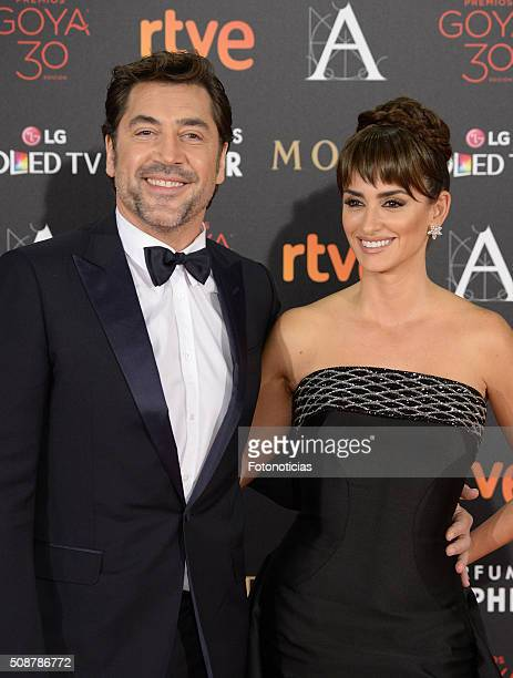 Javier Bardem and Penelope Cruz attend the Goya Cinema Awards 2016 Ceremony at Madrid Marriott Auditorium on February 6 2016 in Madrid Spain