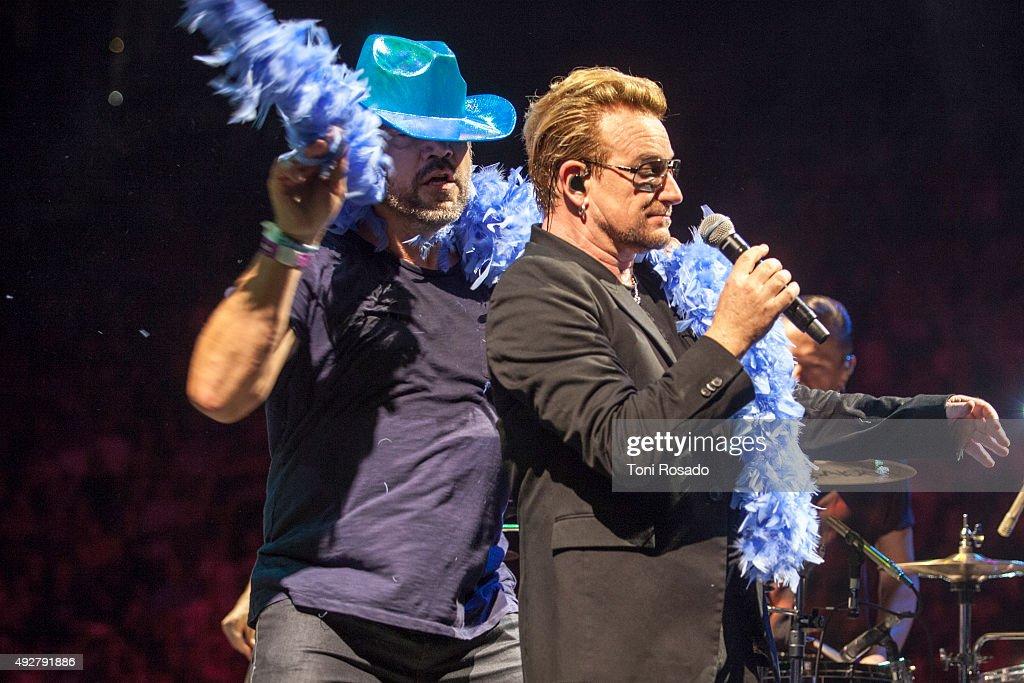 Javier Bardem And Penelope Cruz Join U2 On Stage