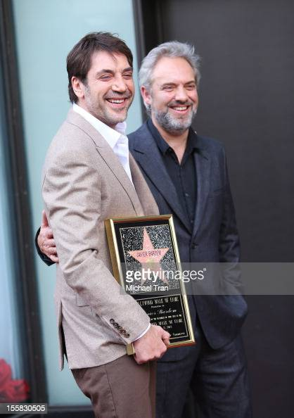 Javier Bardem and Sam Mendes attend the ceremony honoring Javier Bardem with a Star on The Hollywood Walk of Fame held on November 8 2012 in Los...