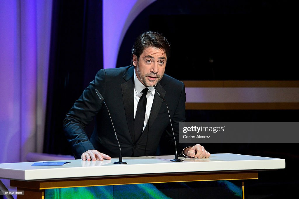 <a gi-track='captionPersonalityLinkClicked' href=/galleries/search?phrase=Javier+Bardem&family=editorial&specificpeople=209334 ng-click='$event.stopPropagation()'>Javier Bardem</a> attends the Goya Cinema Awards 2013 ceremony at Centro de Congresos Principe Felipe on February 17, 2013 in Madrid, Spain.