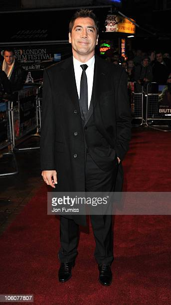 Javier Bardem attends the premiere of 'Biutiful' as part of the 54th BFI London Film Festival at Vue West End on October 26 2010 in London England