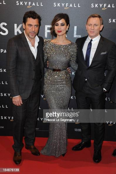 Javier Bardem Berenice Marlohe and Daniel Craig attend the premiere of the latest James Bond 'Skyfall' at Cinema UGC Normandie on October 24 2012 in...