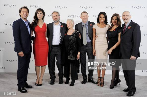 Javier Bardem Berenice Marlohe director Sam Mendes Dame Judi Dench Daniel Craig Naomie Harris producer Barbara Broccoli and producer Michael G Wilson...