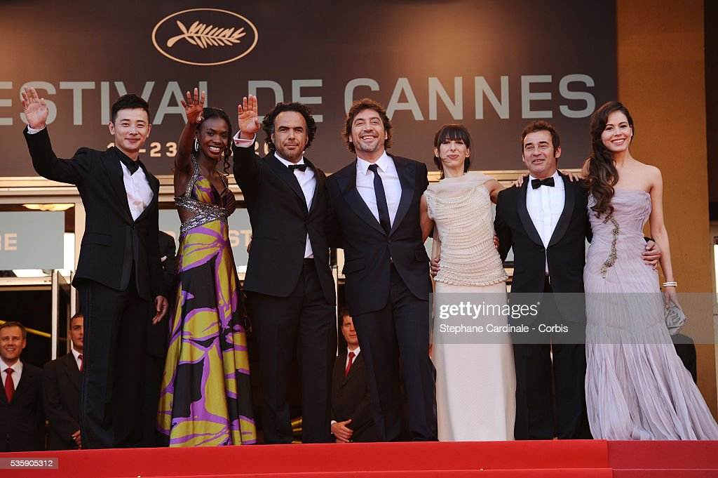 Javier Bardem, Diaryatou Daff, Alejandro Gonzalez Inarritu, Maricel Alvarez, Eduard Fernandez and Martina Garcia at the Premiere for 'Biutiful' during the 63rd Cannes International Film Festival.