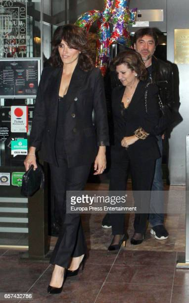 Javier Bardem Penelope Cruz and her mother Encarna Sanchez attend the Monica Cruz's 40th birthday party on March 14 2017 in Madrid Spain