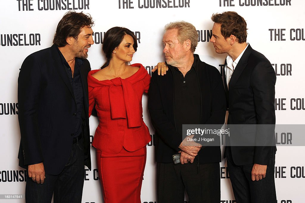 <a gi-track='captionPersonalityLinkClicked' href=/galleries/search?phrase=Javier+Bardem&family=editorial&specificpeople=209334 ng-click='$event.stopPropagation()'>Javier Bardem</a>, Penelope Cruz, <a gi-track='captionPersonalityLinkClicked' href=/galleries/search?phrase=Ridley+Scott&family=editorial&specificpeople=215470 ng-click='$event.stopPropagation()'>Ridley Scott</a> and <a gi-track='captionPersonalityLinkClicked' href=/galleries/search?phrase=Michael+Fassbender&family=editorial&specificpeople=4157925 ng-click='$event.stopPropagation()'>Michael Fassbender</a> attend a photocall for 'The Counselor' at The Dorchester on October 5, 2013 in London, England.
