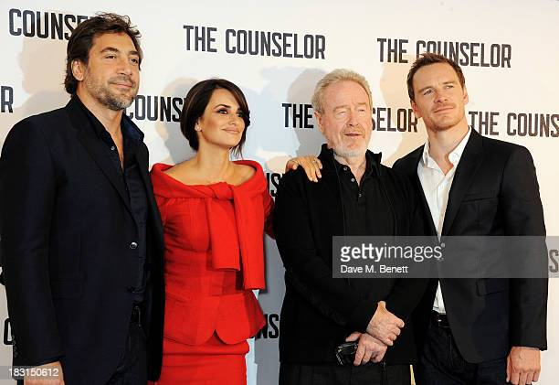 Javier Bardem Penelope Cruz Sir Ridley Scott and Michael Fassbender attend a photocall for 'The Counselor' at The Dorchester on October 5 2013 in...