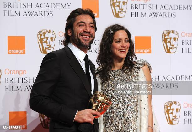Javier Bardem with the award for Best Supporting Actor recieved for No Country For Old Men and presenter Mation Cotillard during the 2008 Orange...