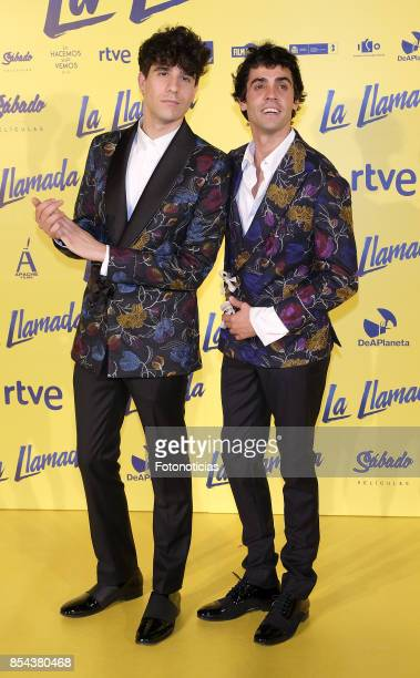 Javier Calvo and Javier Ambrossi attend the 'La Llamada' premiere yellow carpet at the Capitol cinema on September 26 2017 in Madrid Spain