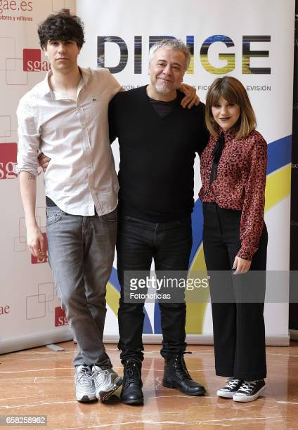 Javier Calvo Javier Quintas and Angy Fernandez attend the 'Dirige' photocall at the SGAE on March 27 2017 in Madrid Spain