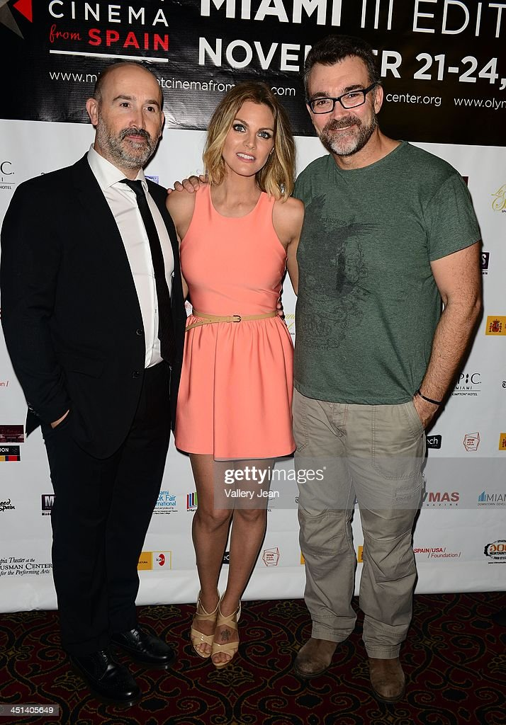 Javier Camara, Amaaia Salamanca and Jesus Monllao attend Cinema From Spain Film Festival at Gusman Center for the Performing Arts on November 21, 2013 in Miami, Florida.