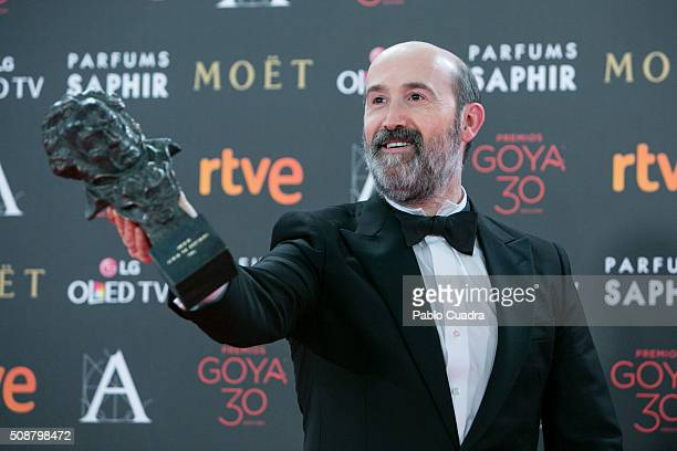 Javier Camara holds the award for Best Actor In Supporting Role award during the 30th edition of the Goya Cinema Awards at Madrid Marriott Auditorium...