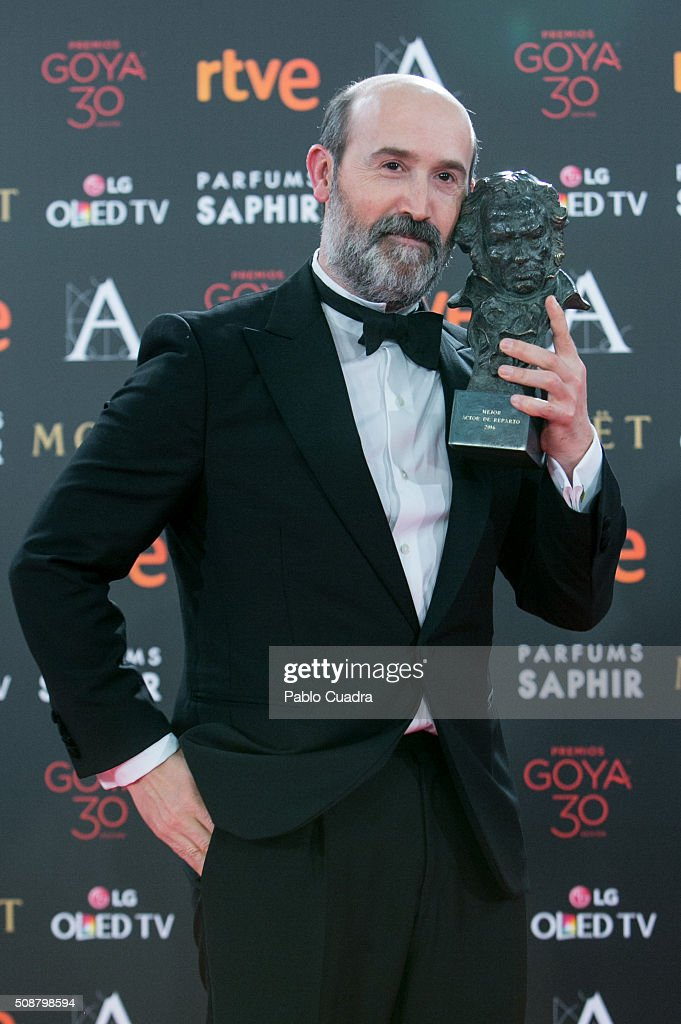 Javier Camara holds the award for Best Actor in Supporting Role award during the 30th edition of the Goya Cinema Awards at Madrid Marriott Auditorium on February 6, 2016 in Madrid, Spain.