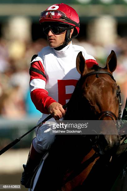 Javier Castellano rides prerace favorite Bobby's Kitchen to the track during the Toyota Blue Grass Stakes at Keeneland Race Course on April 12 2014...