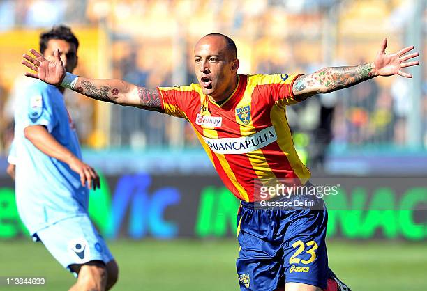 Javier Chevanton of Lecce celebrates after scoring his team's second goal during the Serie A match between Lecce and SSC Napoli at Stadio Via del...