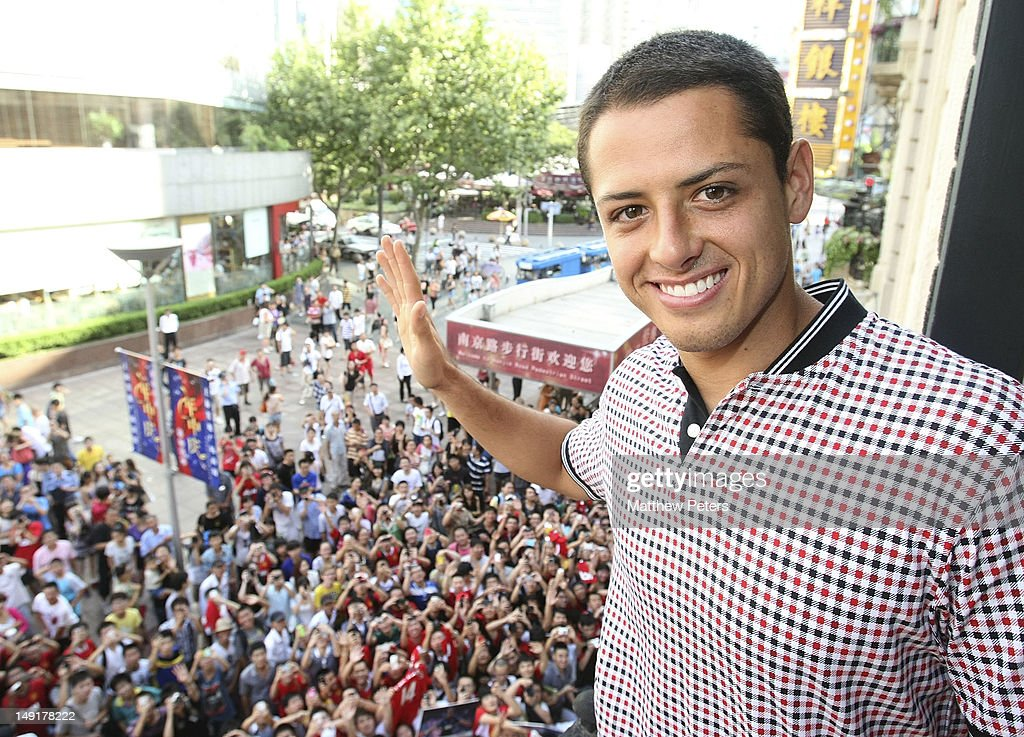 Javier 'Chicharito' Hernandez of Manchester United attends the launch of a new Manchester United Fitness app in association with Nike on July 24, 2012 in Shanghai, China.