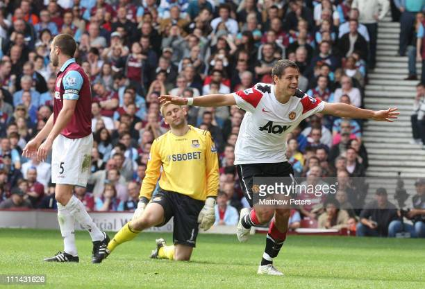 Javier 'Chicharito' Hernandez of Manchester United celebrates scores their fourth goal during the Barclays Premier League match between West Ham...