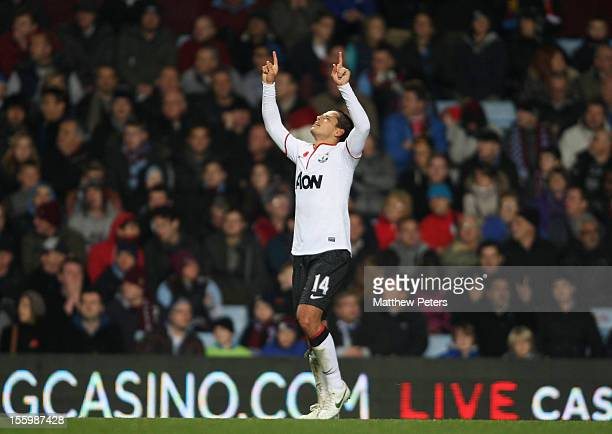 Javier 'Chicharito' Hernandez of Manchester United celebrates scoring their third goal during the Barclays Premier League match between Aston Villa...