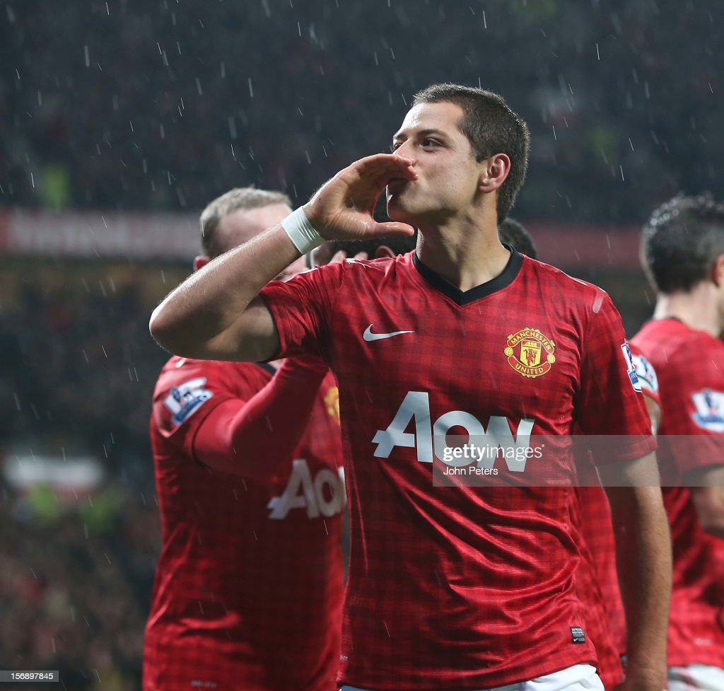 Javier 'Chicharito' Hernandez of Manchester United celebrates scoring their third goal during the Barclays Premier League match between Manchester United and Queens Park Rangers at Old Trafford on November 24, 2012 in Manchester, England.