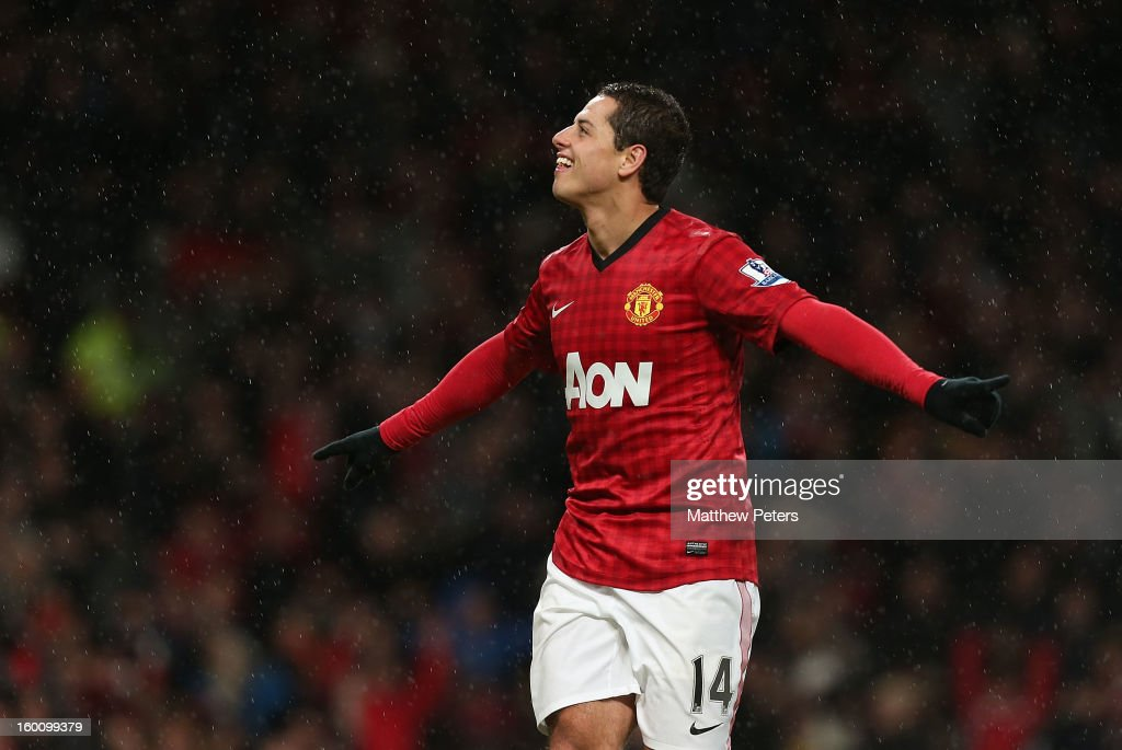 Javier 'Chicharito' Hernandez of Manchester United celebrates scoring their fourth goal during the FA Cup Fourth Round match between Manchester United and Fulham at Old Trafford on January 26, 2013 in Manchester, England.