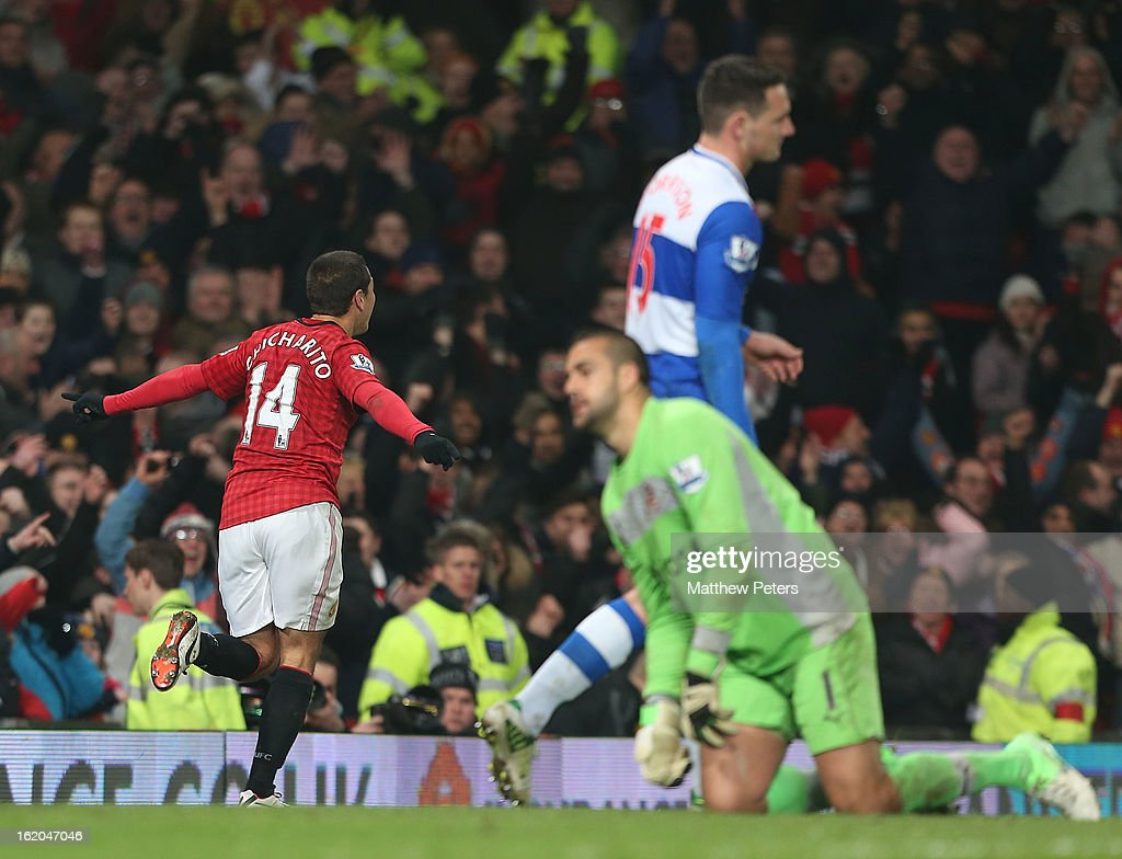 Javier 'Chicharito' Hernandez of Manchester United celebrates scoring their second goal during the FA Cup Fifth Round match between Manchester United and Reading at Old Trafford on February 18, 2013 in Manchester, England.