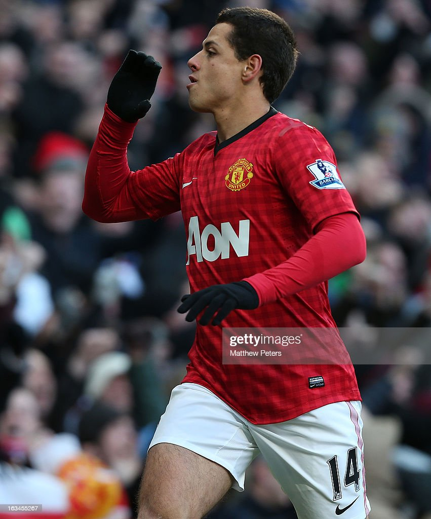 Javier 'Chicharito' Hernandez of Manchester United celebrates scoring their first goal during the FA Cup Sixth Round match between Manchester United and Chelsea at Old Trafford on March 10, 2013 in Manchester, England.