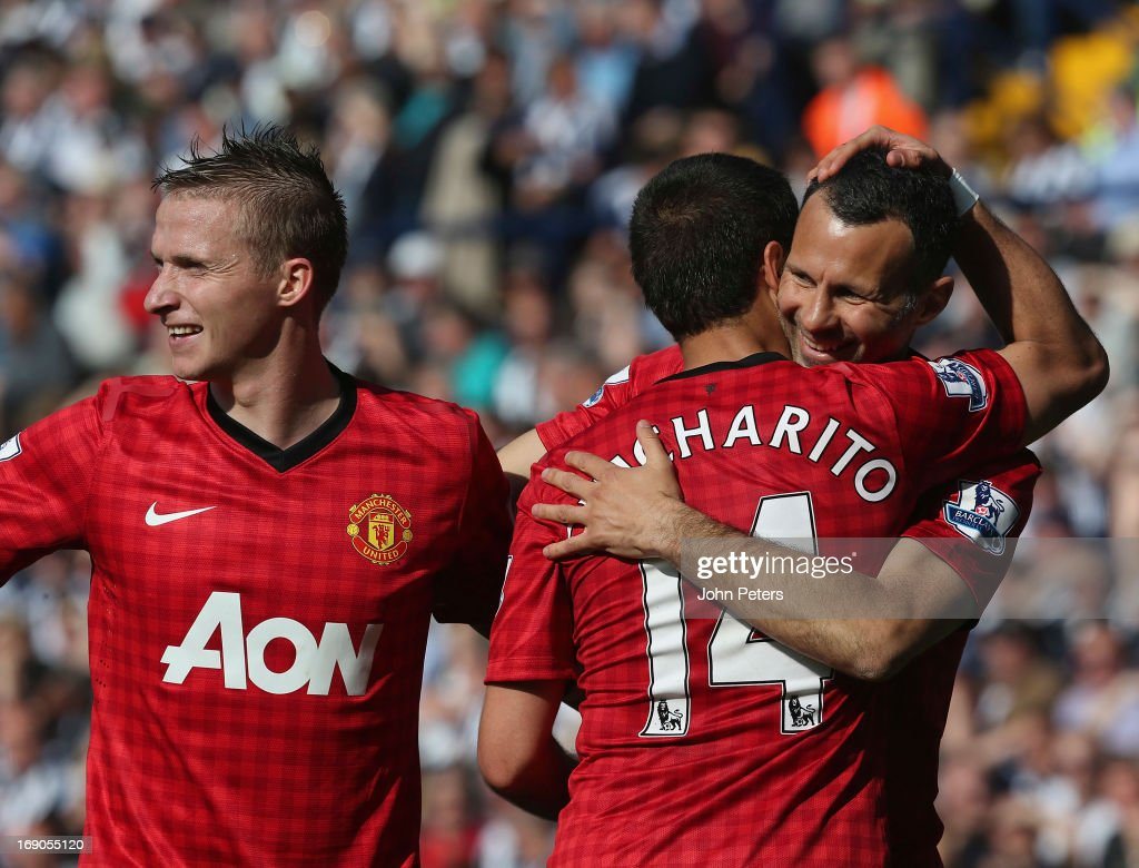 Javier 'Chicharito' Hernandez of Manchester United celebrates scoring their fifth goal during the Barclays Premier League match between West Bromwich Albion and Manchester United at The Hawthorns on May 19, 2013 in West Bromwich, England.