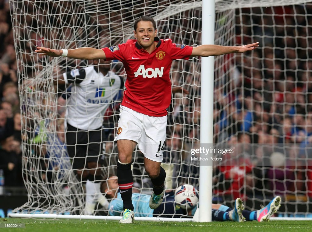 Javier 'Chicharito' Hernandez of Manchester United celebrates scoring their second goal during the Capital One Cup Fourth Round match between Manchester United and Norwich City at Old Trafford on October 29, 2013 in Manchester, England.