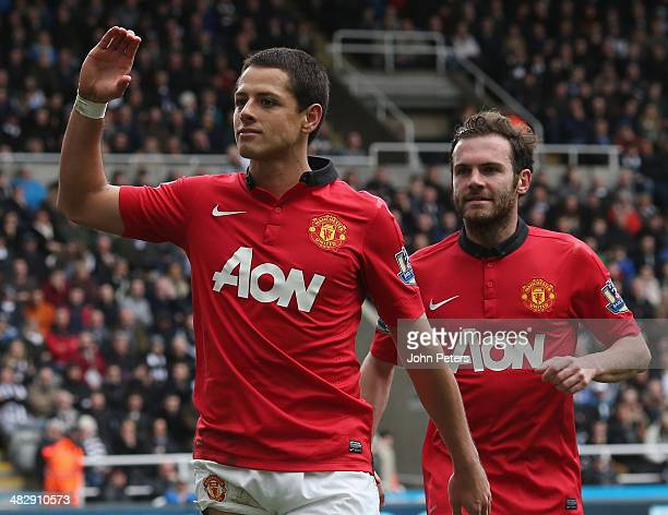 Javier 'Chicharito' Hernandez of Manchester United celebrates scoring their third goal during the Barclays Premier League match between Newcastle...