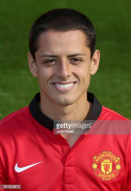 Javier 'Chicharito' Hernandez of Manchester United poses at the annual club photocall at Old Trafford on September 26 2013 in Manchester England
