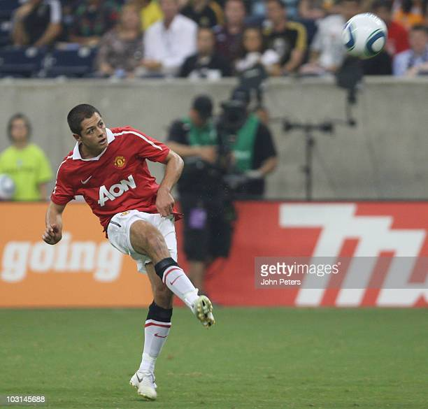 Javier 'Chicharito' Hernandez of Manchester United scores their fifth goal his first for the club during the MLS AllStar match between Manchester...