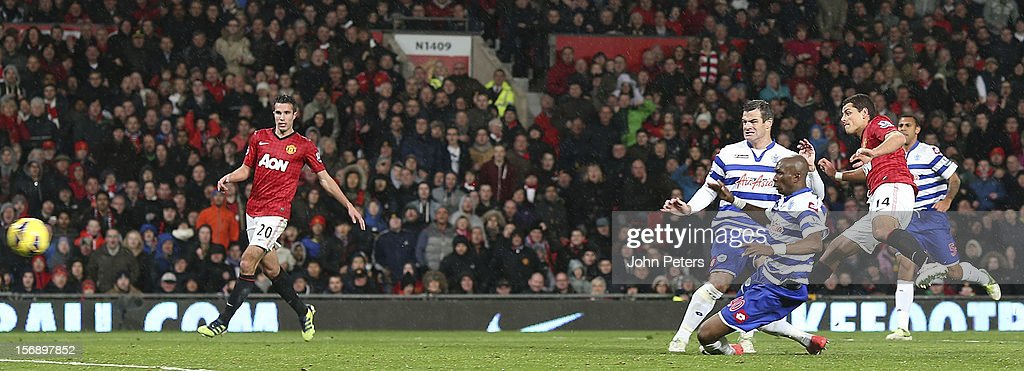 Javier 'Chicharito' Hernandez of Manchester United scores their third goal during the Barclays Premier League match between Manchester United and Queens Park Rangers at Old Trafford on November 24, 2012 in Manchester, England.