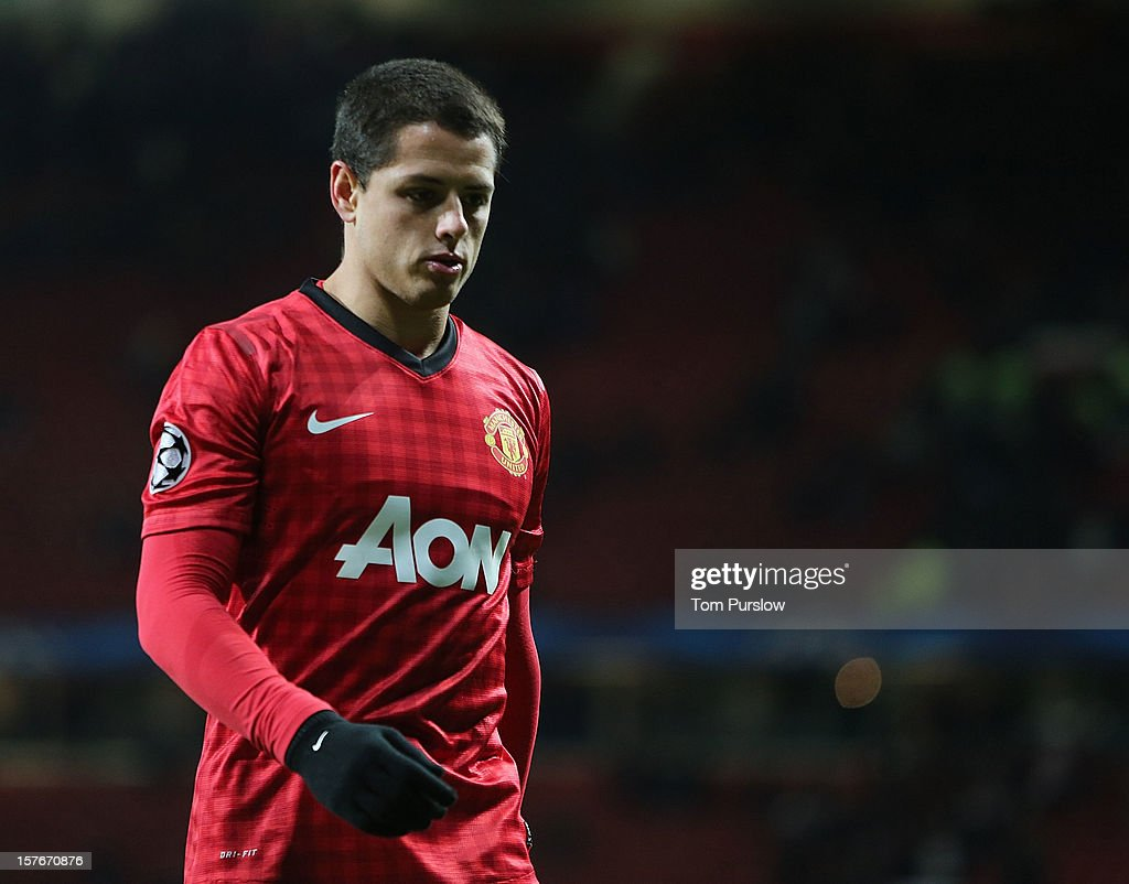 Javier 'Chicharito' Hernandez of Manchester United shows his disappointment after the UEFA Champions League Group H match between Manchester United and CFR 1907 Cluj at Old Trafford on December 5, 2012 in Manchester, England.