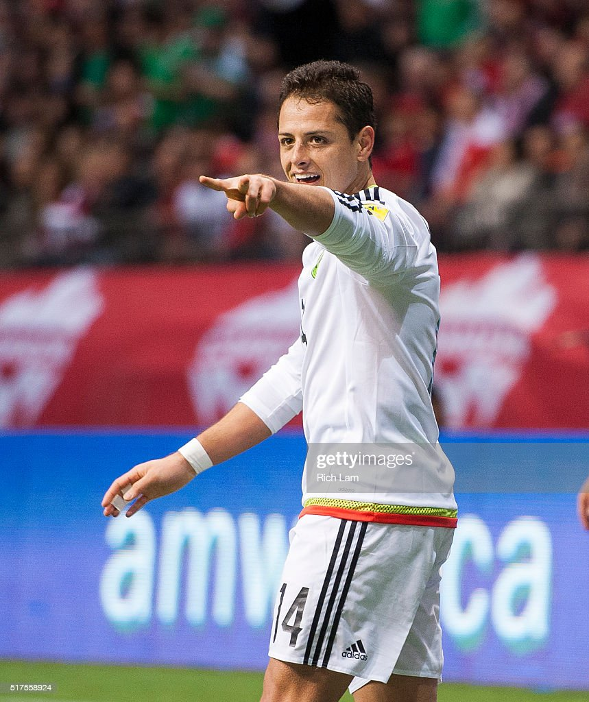 Javier 'Chicharito' Hernandez #14 of Mexico acknowledges the fans after scoring a goal against Canda during FIFA 2018 World Cup Qualifier soccer action at BC Place on March 25, 2016 in Vancouver, Canada.