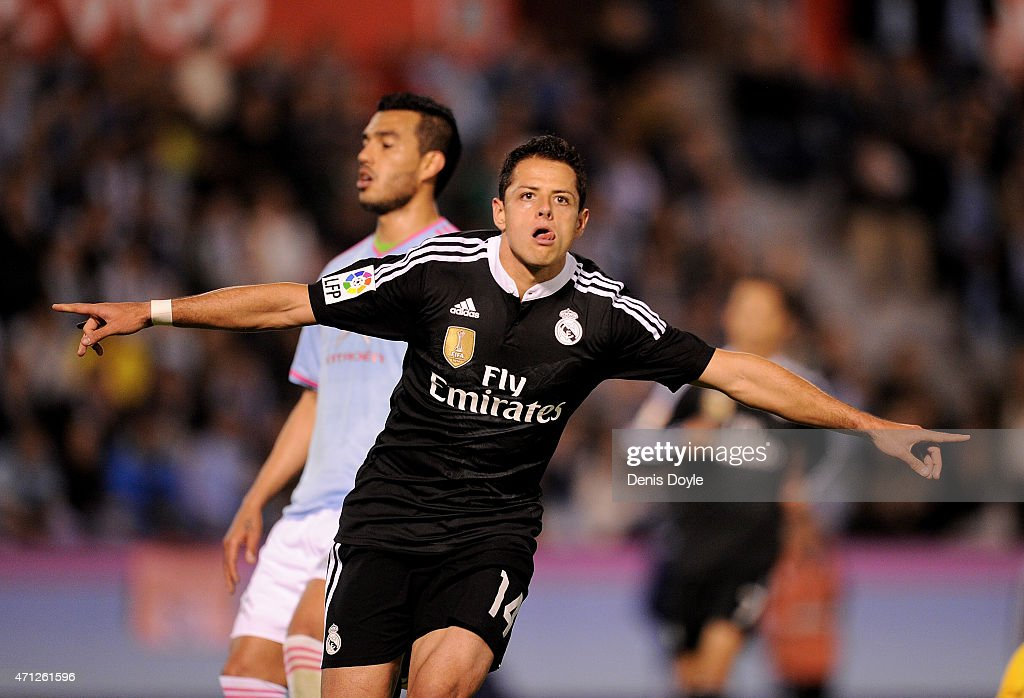 Javier 'Chicharito' Hernandez of Real Madrid celebrates after scoring Real's 4th goal during the La Liga match between Celta Vigo and Real Madrid CF...
